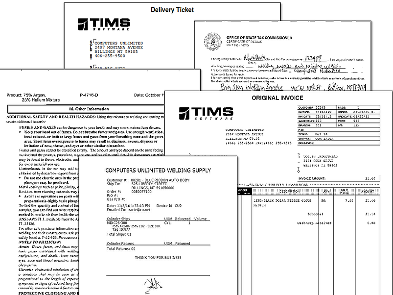 Imaging Documents TIMS Industrial Welding Gas Software